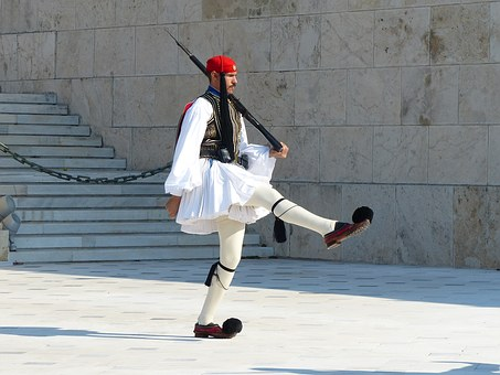 Myathenian Syntagma Square the Evzones at the Tomb of the Unknown Soldier